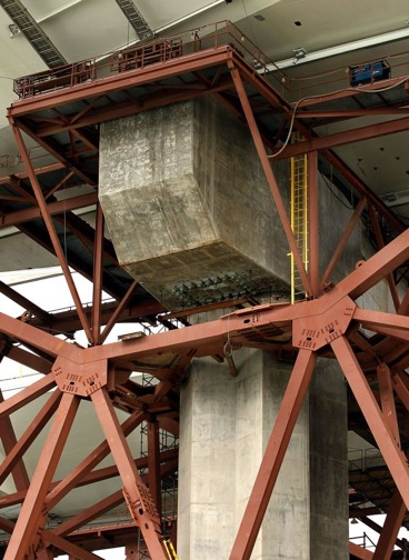Pier E-2 of the eastern section of the new Bay Bridge contains the 32 anchor rods that fractured when tightened in March, triggering the ensuing investigation of other bolts and rods. Photo: Michael Macor, The Chronicle