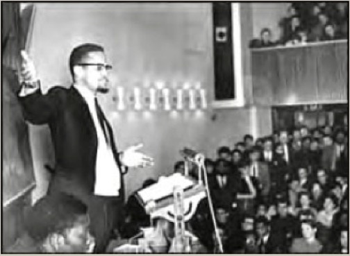 Malcolm X addressing students at the London School of Economics, 1965